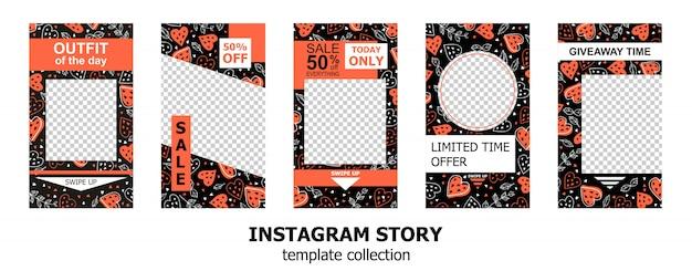 Raccolta di modelli di storie di instagram Vettore Premium