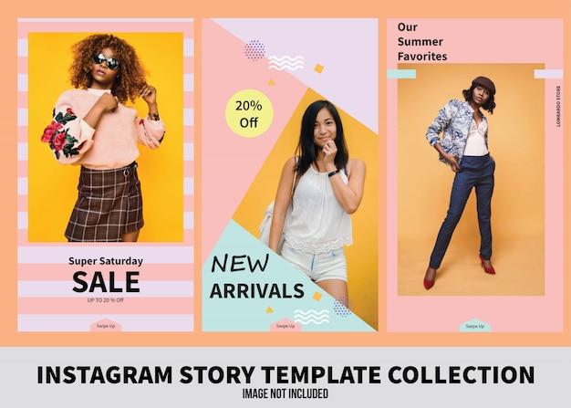 Raccolta di modelli di storie di vendite su instagram Vettore Premium