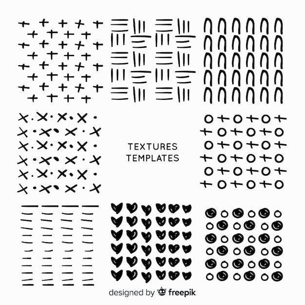 Raccolta di modelli di texture disegnate a mano Vettore gratuito