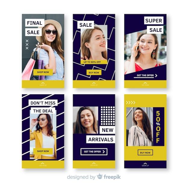 Raccolta di modelli di vendita di storie di instagram Vettore gratuito