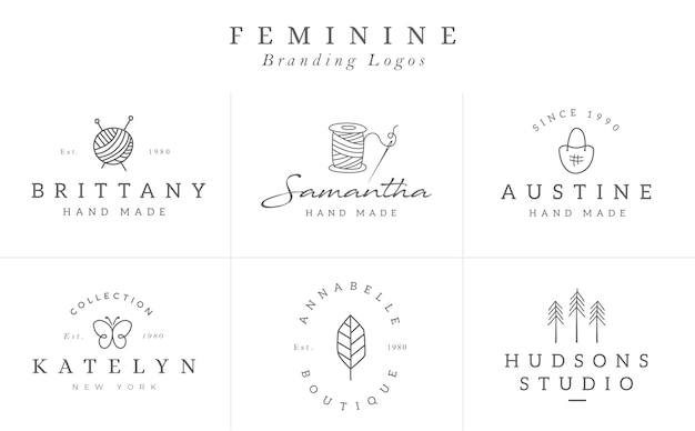 Raccolta di modelli logo fiore nel vettore. logotipi floreali disegnati a mano per il marchio di una piccola impresa Vettore Premium
