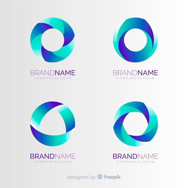 Raccolta di modelli logo tecnologia gradiente Vettore gratuito