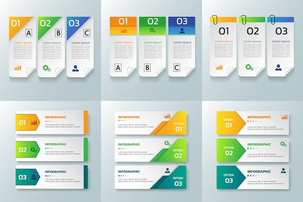 Raccolta di modello di progettazione infografica Vettore Premium