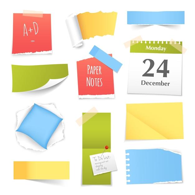 Raccolta di note di carta realistico colorato Vettore gratuito