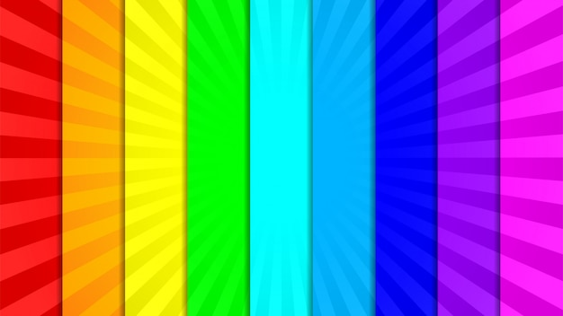 Raccolta di nove brillanti, vivaci, colorati raggi sfondo Vettore Premium