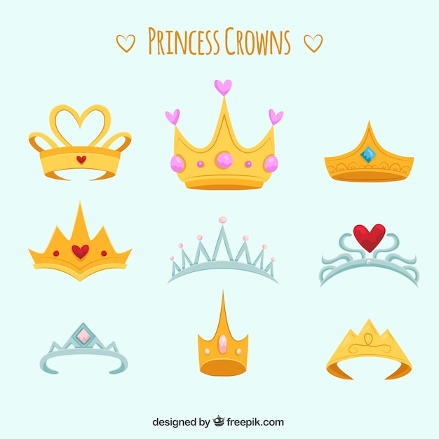 Raccolta di nove corone di princess e diademi Vettore gratuito