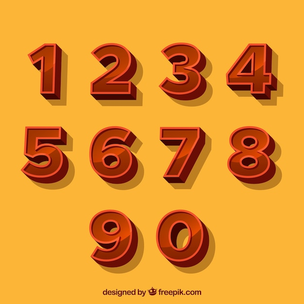 Raccolta di numeri 3d Vettore gratuito