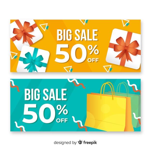 Raccolta di oggetti astratti vendita astratta di banner Vettore gratuito