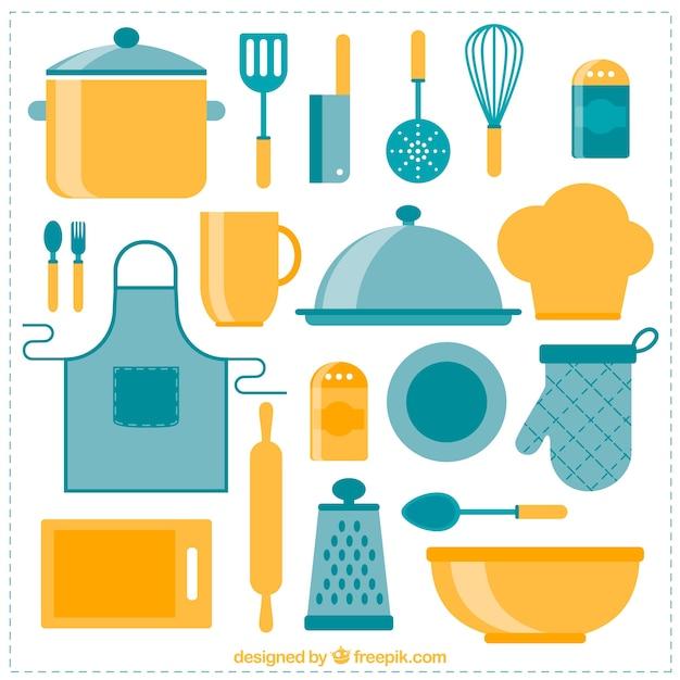Raccolta di oggetti da cucina in design piatto | Scaricare vettori ...