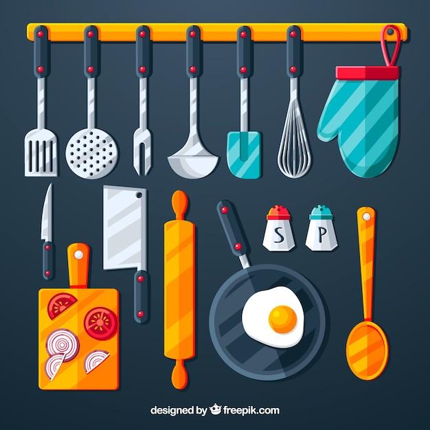 Raccolta di oggetti da cucina Vettore gratuito
