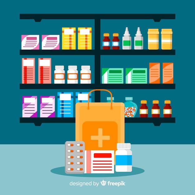 Raccolta di oggetti del farmacista piatto Vettore gratuito