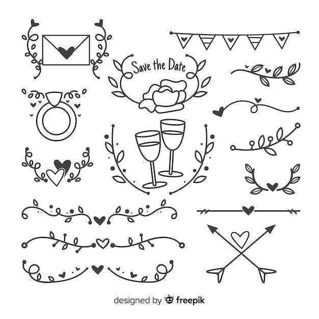 Raccolta di ornamenti di nozze disegnati a mano Vettore gratuito
