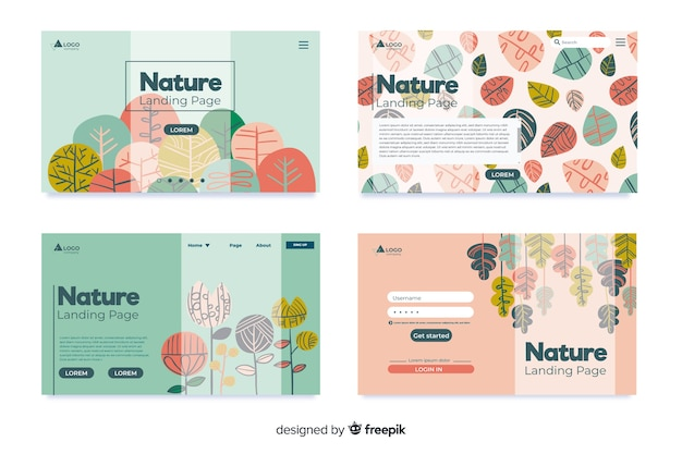 Raccolta di pagine di destinazione della natura Vettore gratuito