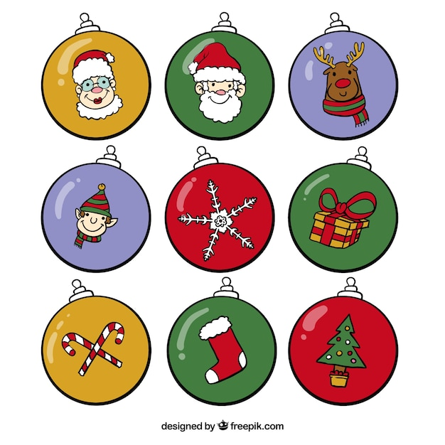 Disegni Di Palline Di Natale.Raccolta Di Palle Di Natale Con Disegni Scaricare Vettori Gratis