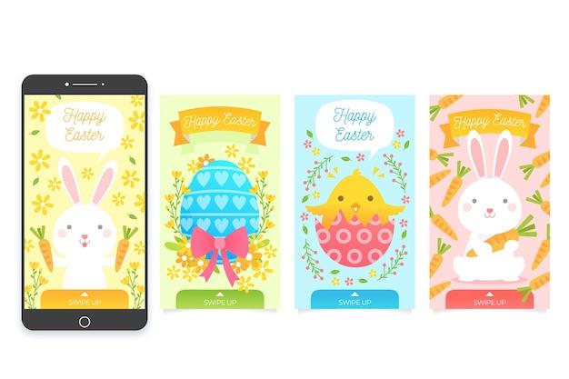 Raccolta di pasqua del instagram degli animali e delle uova Vettore gratuito