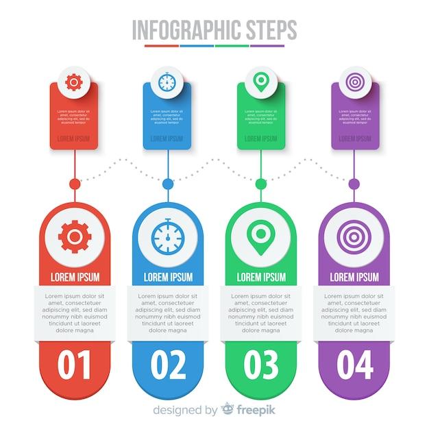 Raccolta di passaggi infografica piatta Vettore gratuito