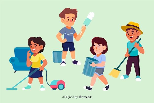 Raccolta di personaggi minimalisti illustrati che fanno i lavori domestici Vettore gratuito