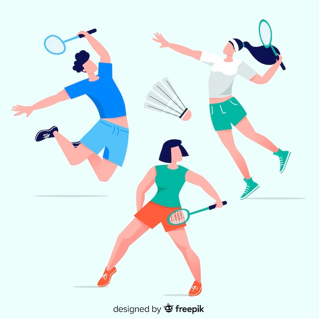 Raccolta di persone che giocano a badminton Vettore gratuito