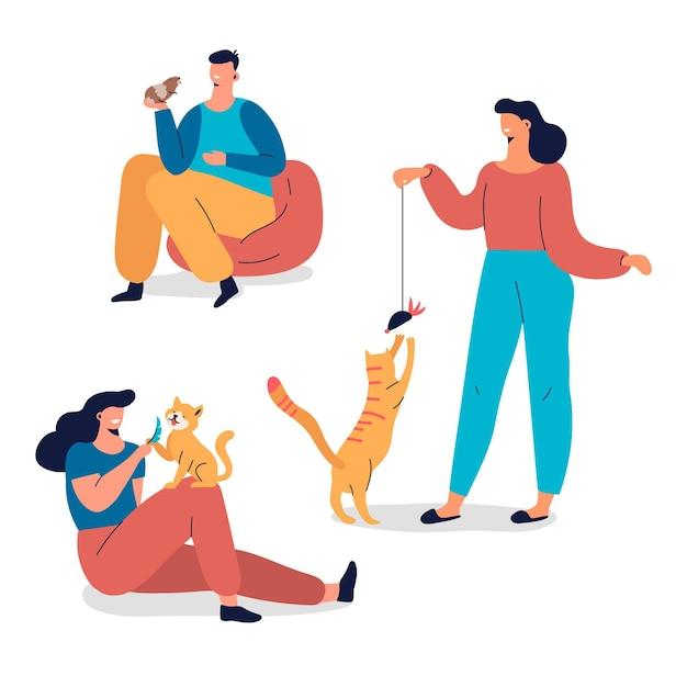 Raccolta di persone che giocano con i loro animali domestici Vettore gratuito