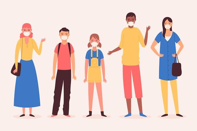 Raccolta di persone che indossano maschere mediche Vettore gratuito