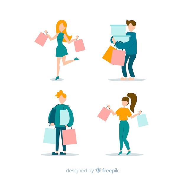 Raccolta di persone che trasportano borse della spesa Vettore gratuito
