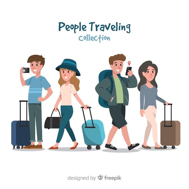 Raccolta di persone in viaggio Vettore gratuito