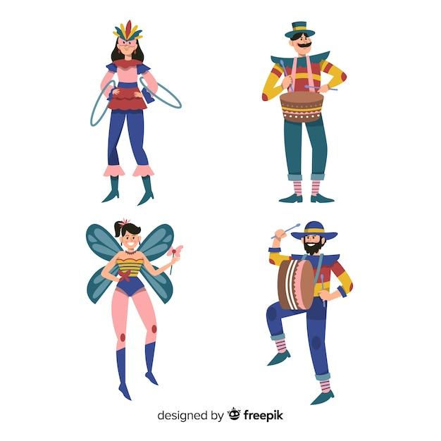 Raccolta di persone vestite colorate Vettore gratuito
