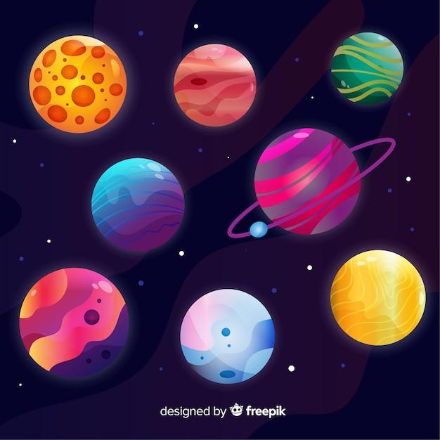 Raccolta di pianeti colorati dal sistema solare Vettore gratuito