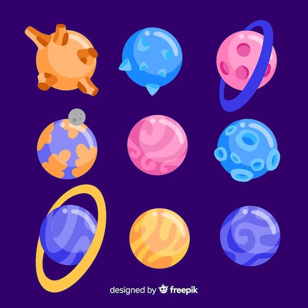 Raccolta di pianeti colorati nel sistema solare Vettore gratuito