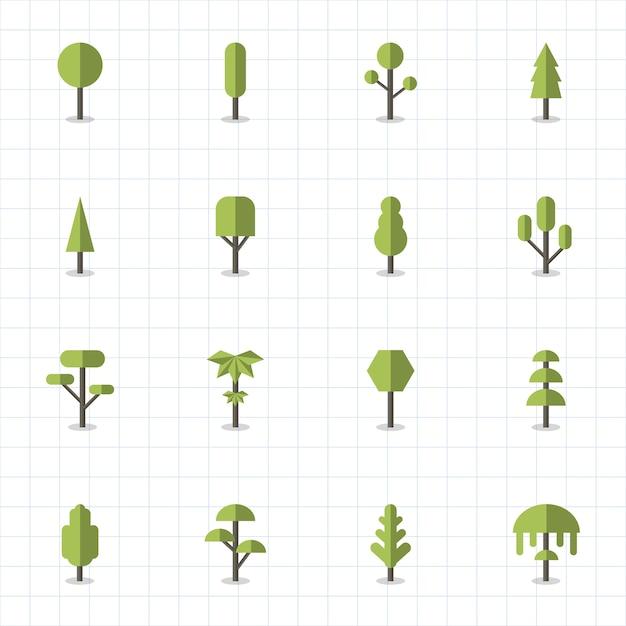 Raccolta di piante e vettori di alberi Vettore gratuito