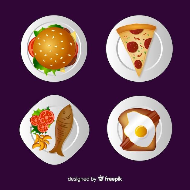 Raccolta di piatti di cibo realistico Vettore gratuito