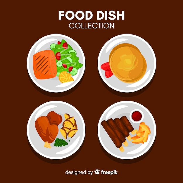 Raccolta di piatti piatti Vettore gratuito