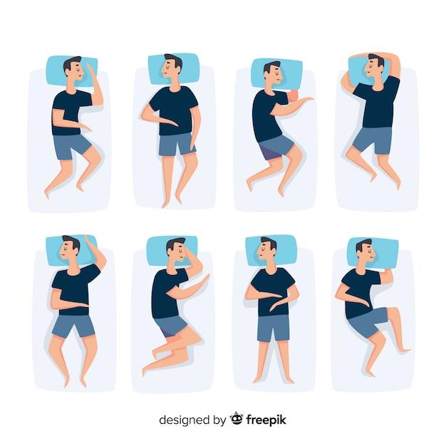 Raccolta di pose piatte di sonno di vista superiore Vettore gratuito