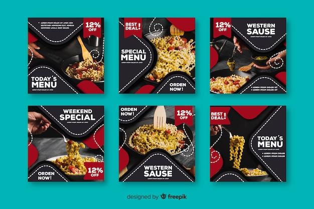 Raccolta di post di instagram con cibo Vettore gratuito
