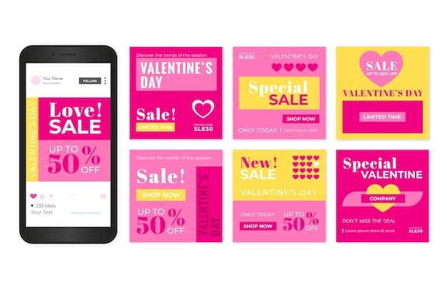 Raccolta di post di instagram di vendita di san valentino Vettore gratuito