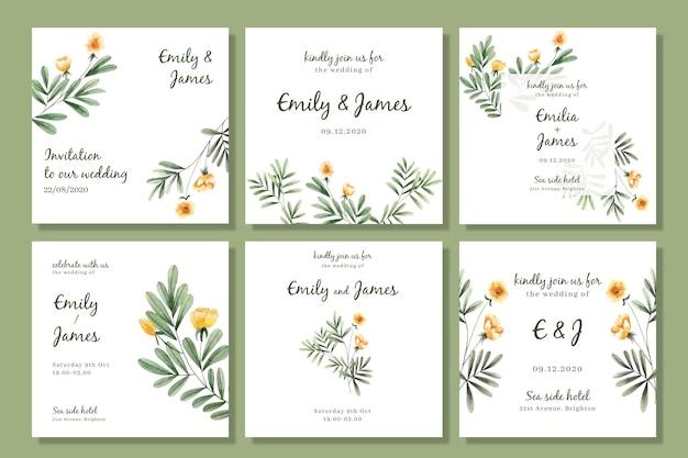 Raccolta di post di instagram floreale dell'acquerello per matrimonio Vettore gratuito