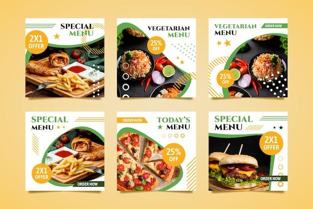 Raccolta di post online di menu speciali Vettore gratuito