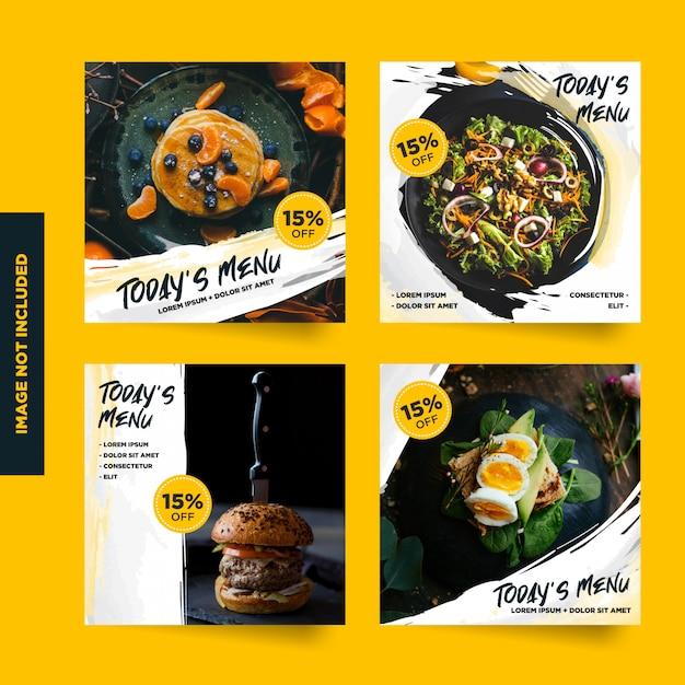 Raccolta di post promozionali dei menu sui social media Vettore Premium