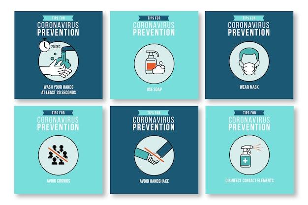 Raccolta di post su instagram per la prevenzione del coronavirus Vettore gratuito