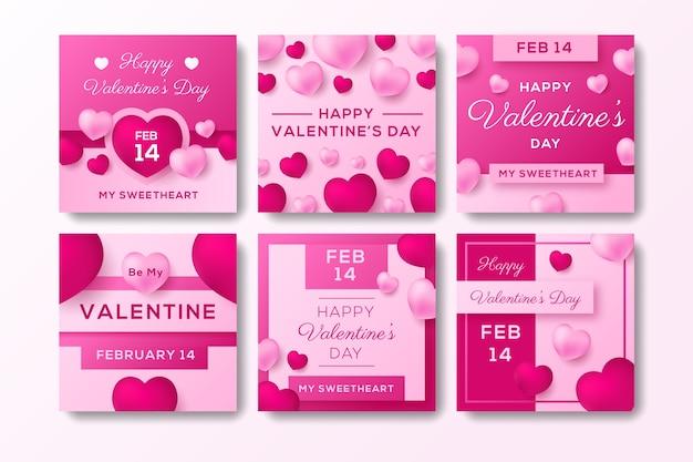 Raccolta di post su instagram per san valentino Vettore gratuito