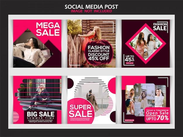 Raccolta di post sui social media Vettore Premium