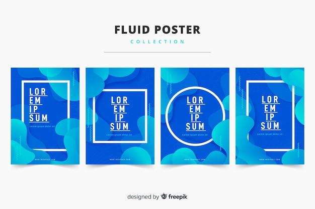 Raccolta di poster fluido Vettore gratuito