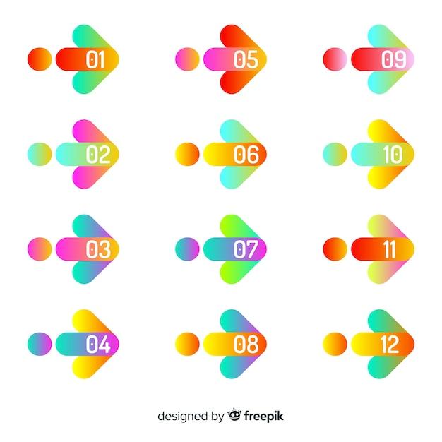 Raccolta di punti di proiettile freccia colorata Vettore gratuito