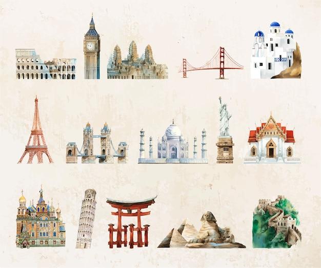 Raccolta di punti di riferimento architettonici dipinti da acquerello Vettore gratuito
