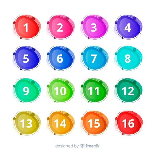 Raccolta di punti elenco colorato astratto Vettore gratuito