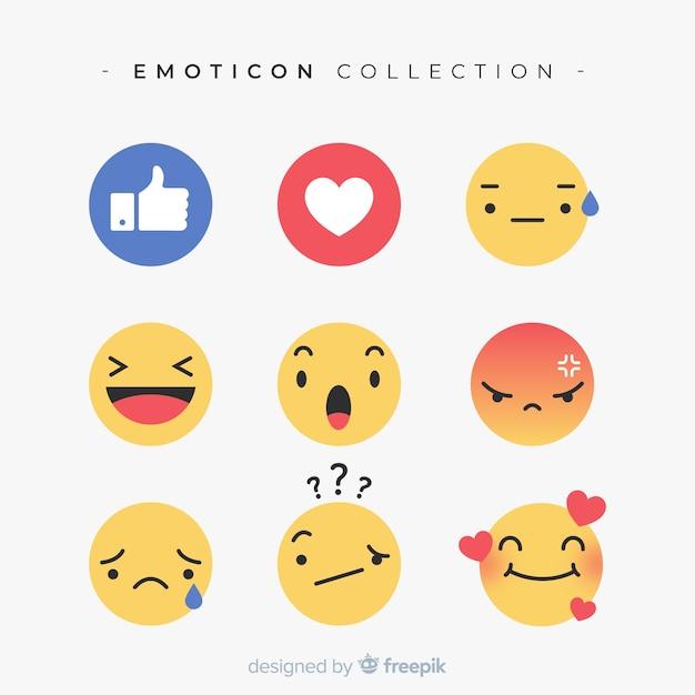 Raccolta di reazioni di emoticon piatto Vettore gratuito
