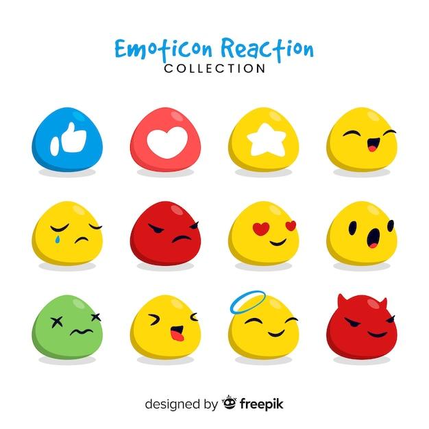 Raccolta di reazioni emoticon Vettore gratuito
