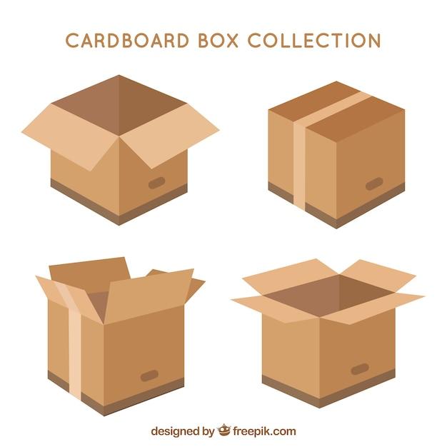 Raccolta di scatole di cartone per la spedizione in stile piatto Vettore gratuito