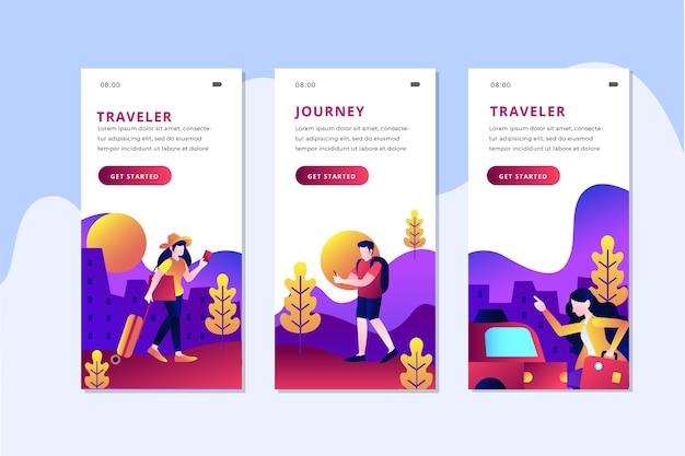 Raccolta di schermate delle app di viaggio Vettore gratuito