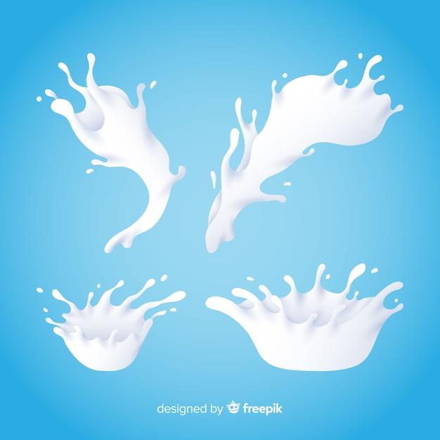 Raccolta di schizzi di latte realistico Vettore gratuito